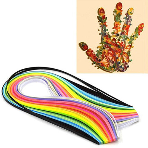 160 Pcs 39cm x 5mm Multicolor Paper Quilling Art Strips Kit Papercraft DIY Craft - Deals Blast