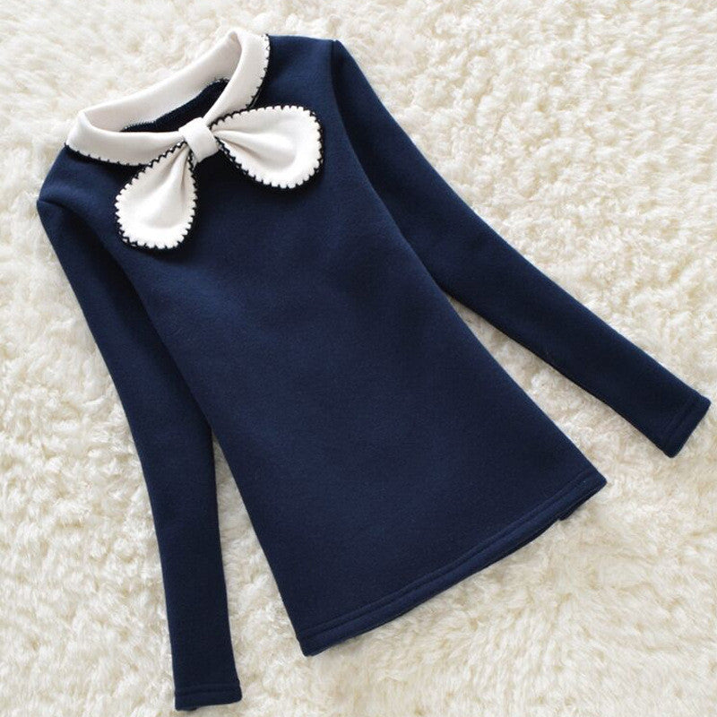 2016 Autumn Baby Girls Shirts Long Sleeve Children Clothing Bow Collar Lace Patchwork Girl Blouses Kids Clothes 3-12years - Deals Blast
