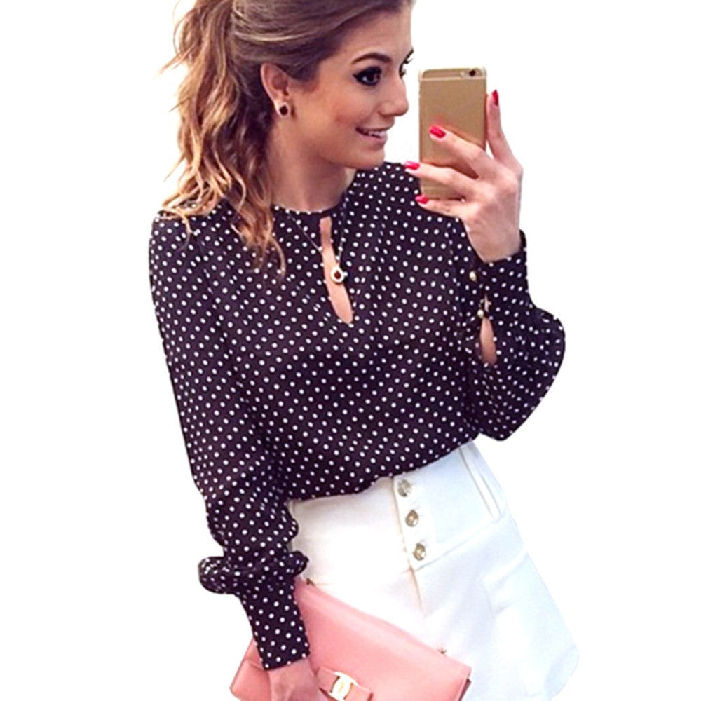 Deals Blast: Long Sleeve Slit Open Women Blouse Chiffon Hollow Sexy Casual Shirt Plus Size Women Polka Dots Shirt Top Deals Blast