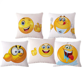 Cute 45*45cm Linen Emoji Pad Cushion With No Filling Emoticon Sofa Chair Decorative Throw Pillow Cojin Coussin Car #Decor: Deals Blast