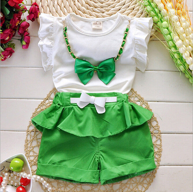 Deals Blast: Best Seller 2016 New Hot Sale Girl Clothing Set Top and Pants For Baby Girl Summer Wear Children Clothing 2 Pcs With Belt Baby Clothes - Deals Blast