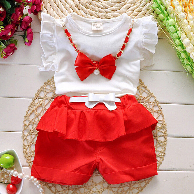 Deals Blast: Best Seller 2016 New Hot Sale Girl Clothing Set Top and Pants For Baby Girl Summer Wear Children Clothing 2 Pcs With Belt Baby Clothes Deals Blast