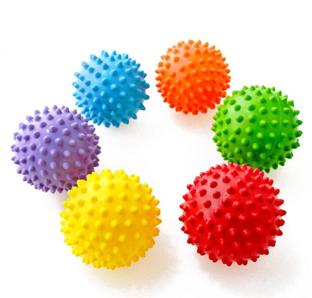 12Pcs Knobby Massage Spikey Balls Sensory Therapy Autism Children Kids Bouncing Balls-3Inch/7CM - Deals Blast