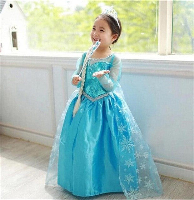 New Girls Snow Queen Dress Halloween Costume Princess Anna Elsa Dress Girl Christmas Dress Kids Cosplay Party Dresses For Girls: Deals Blast
