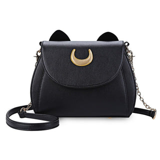 Summer Sailor Moon Ladies Handbag Black Luna Cat Chain Shoulder Bag Leather Women Messenger Crossbody Small Bag - Deals Blast