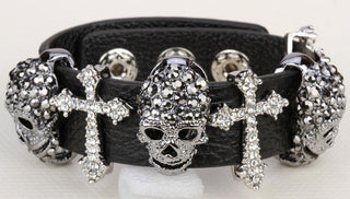 Black leather skull cross bracelet for women crystal adjustable bangle punk biker halloween jewelry LD03 wholesale dropshipping: Deals Blast