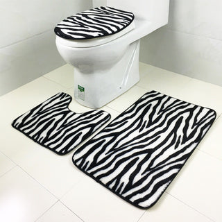 A 3pcs/set Zebra Striped Animal Pattern Leopard Bathroom Set Carpet Absorbent Non-Slip Pedestal Rug Lid Toilet Cover Bath Mat: Deals Blast