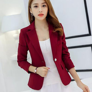 New Long-sleeved Slim Women Blazers And Jackets Small Women Suit Korean Version (Gray/Blue/Wine Red/Navy blue)  Ladies Blazer: Deals Blast