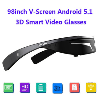 Upgraded version!!Full HD 1080P 98inch V-Screen Android5.1 WiFi Touch-Button Track Ball Opera Browser 3D Smart  Video Glasses - Deals Blast