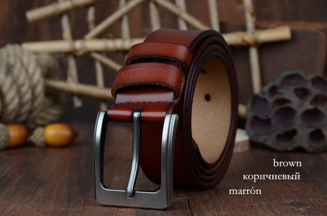 100% cowhide genuine leather belts for men brand Strap male pin buckle fancy vintage jeans cintos - Deals Blast