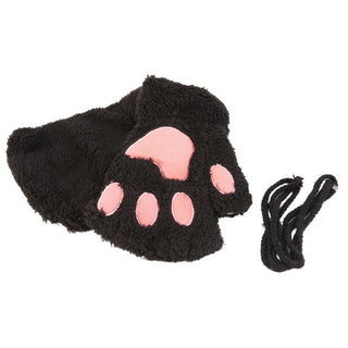 Winter Women Gloves Cute Fluffy Bear Plush Paw Glove Girl Novelty Soft Half Covered Mittens Gloves