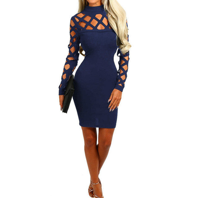 2017 Explosion Sexy Hollow Out Bandage Dress Women Long Sleeve Hollow Out Dress Sexy Nightclub Vestidos Plus Size - Deals Blast