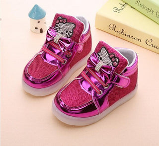 Hot New Baby Girls LED Light Shoes Toddler Anti-Slip Sports Boots Kids Sneakers Children's Cartoon Kitty Flats shoes 5 colors: Deals Blast