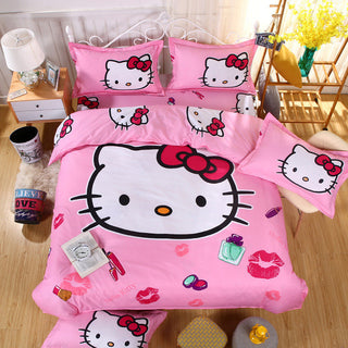 HOT SALE Pink 3D TWIN Double Hello kitty Child Cartoon Pattern Bedding sets include Duvet cover bed sheet pillowcase AOO908: Deals Blast