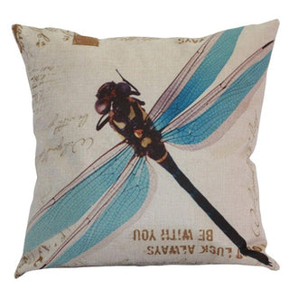 Countryside Animal Cotton Linen Room Bed Chair Throw Pillows Cover Dragonfly Pillowcase Cushion Blue Green Dragonfly Pillow Case - Deals Blast