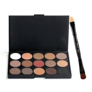 15 Colors Makeup Eyeshadow+Double-headed Eye Shadow Brush And Eye Shadow Stick Kit Matte Pigment Glitter Eyeshadow Palette - Deals Blast