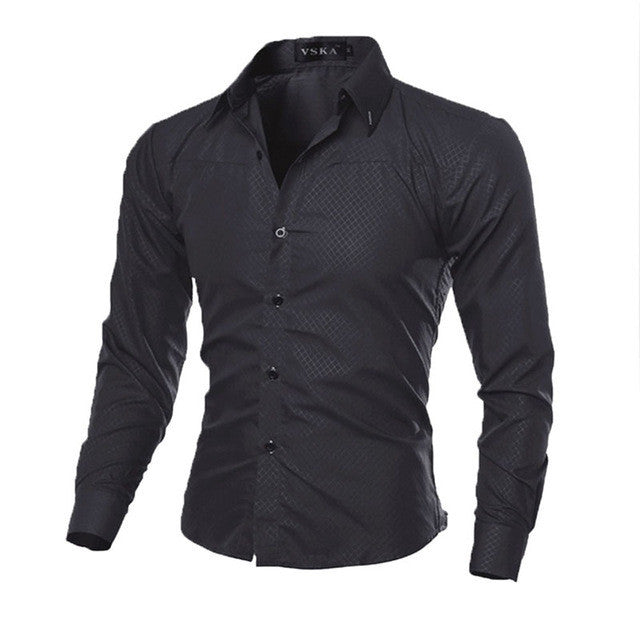 Fashion Man Shirt Fitness 2017 Brand New Mens Business Shirts Slim Fit Shirt Casual Long Sleeve Dress Shirts Solid Color: Deals Blast
