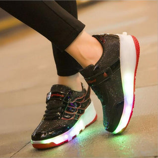 HOT 2017 New Arrived Children shoes Girls Boys Wing Led Light Sneakers Shoes With Wheel Kids Roller Skate Shoes - Deals Blast