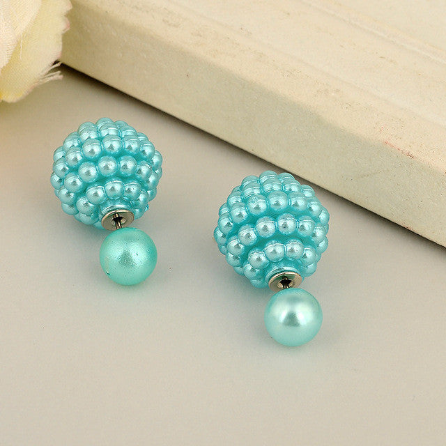 11 Colors jewelry Double Side Imitation pearl fashion earring Trendy Cute Charm Pearl Statement Ball Stud earrings for women - Deals Blast