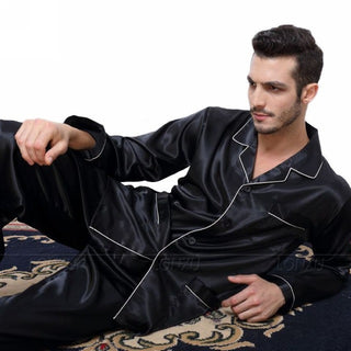 Mens Silk Satin Pajamas  Pyjamas  Set  Sleepwear Set  Loungewear  U.S. S,M,L,XL,XXL,XXXL,4XL__Fits All  Seasons - Deals Blast