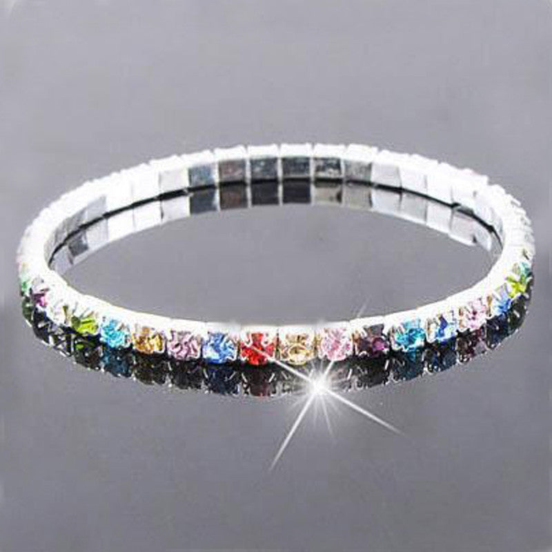 Deals Blast: Fashion silver plated bracelet bangles jewellery colorful crystal elastic adjustable bracelet for women female wedding jewelry Deals Blast