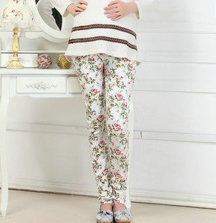 New Arrival Casual Adjustable Maternity Flower Print Pencil Pants Elastic Waist Abdominal Belly Pants Pregnant Trousers - Deals Blast