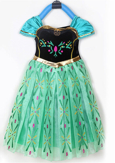 2017 Girls Princess Anna Elsa Cosplay Costume Kids Party Dress Dresses Christmas Costume New year children clothing girl dress - Deals Blast