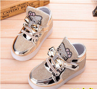 Children Shoes New Spring Hello Kitty Rhinestone Led Shoes Girls Princess Cute Shoes With Light EU 21-30 - Deals Blast