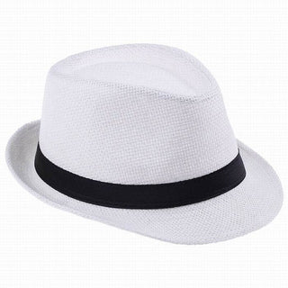 Fashion Hats for Women Fedora Trilby Gangster Cap Summer Beach Sun Straw Panama Hat with Ribbow Band Sunhat - Deals Blast