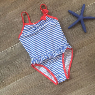 Kids navy striped print girls one piece swimsuit falbala girls swimwear 2016 cute baby bathing suit maillot de bain femme72: Deals Blast