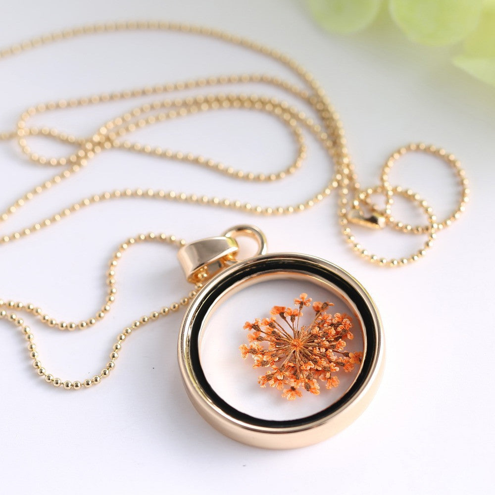 Deals Blast: Fashion Dried orange flowers Jewelery glass locket necklace pendants gold plated statement crystal necklace for women - Deals Blast
