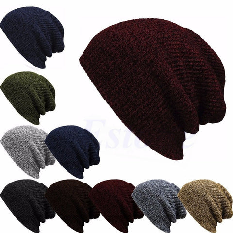 014c563fb66bf Winter Casual Cotton Knit Hats For Women Men Baggy Beanie Hat Crochet  Slouchy Oversized Ski Cap
