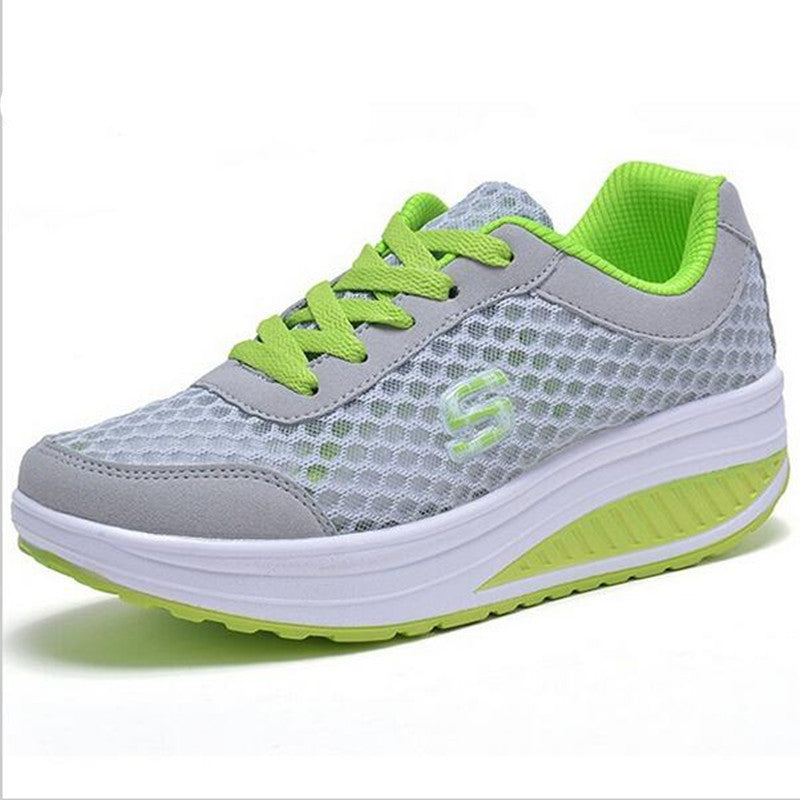 New Breathable air mesh fitness slimming shoes women lace up platform casual shoes low top height increasing swing shoes - Deals Blast