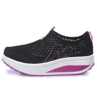 New casual shoes woman low top height increasing slimming swing shoes summer breathable air mesh platform walking shoes - Deals Blast