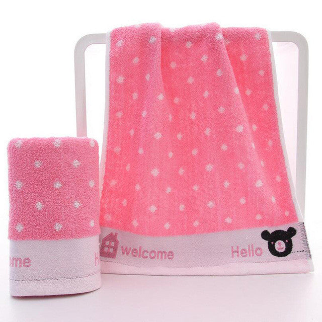 1Pc Baby Cute Cartoon Bear Dots Towel Cotton Saliva Nursing Towel Feeding Towels Wash Cloth Baby Handkerchief Baby Washcloth - Deals Blast