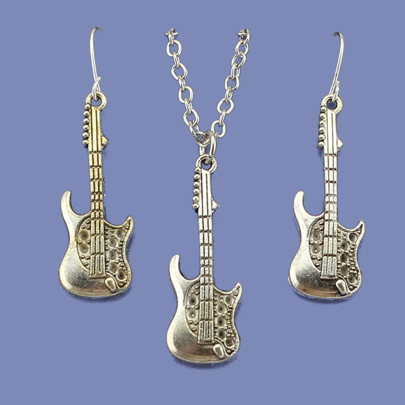 "Deal Blast: Fashion Vintage Silver Tone Guitar Jewelry Set Pendant Short Necklace 18""  Free Shipping Wholesale Price - Deals Blast"