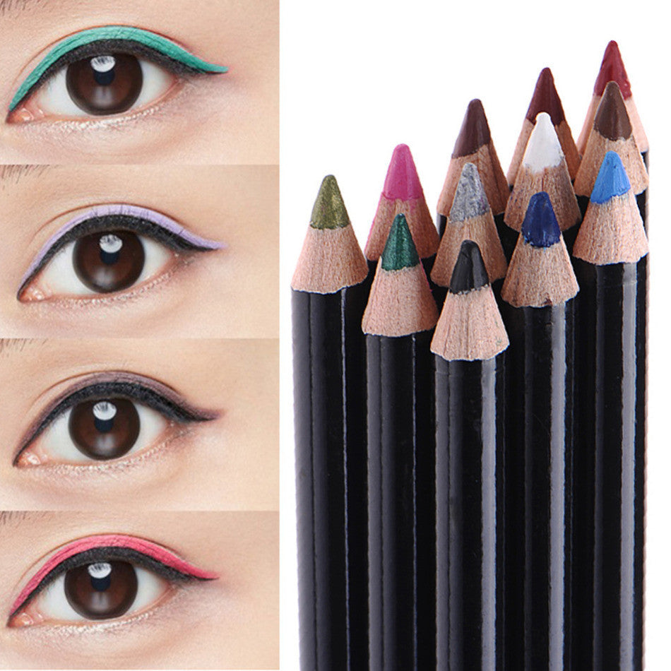 12 Colors Waterproof Eyeliner Pencil Long-lasting Eye Liner Pencils Makeup Cosmetics For Eyes Make up Set Beauty Tools - Deals Blast
