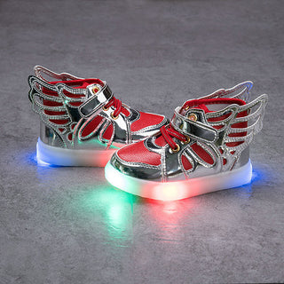 Children shoes with light 2017 Fashion glowing sneakers boys little girls shoes wings canvas flats spring kids light up shoes - Deals Blast