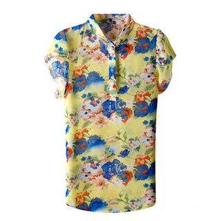 New Fashion Summer Women Blouses New Printed Flowers Chiffon Short Sleeve Shirts Plus Size S-XXL Female Clothings Good Quality: Deals Blast