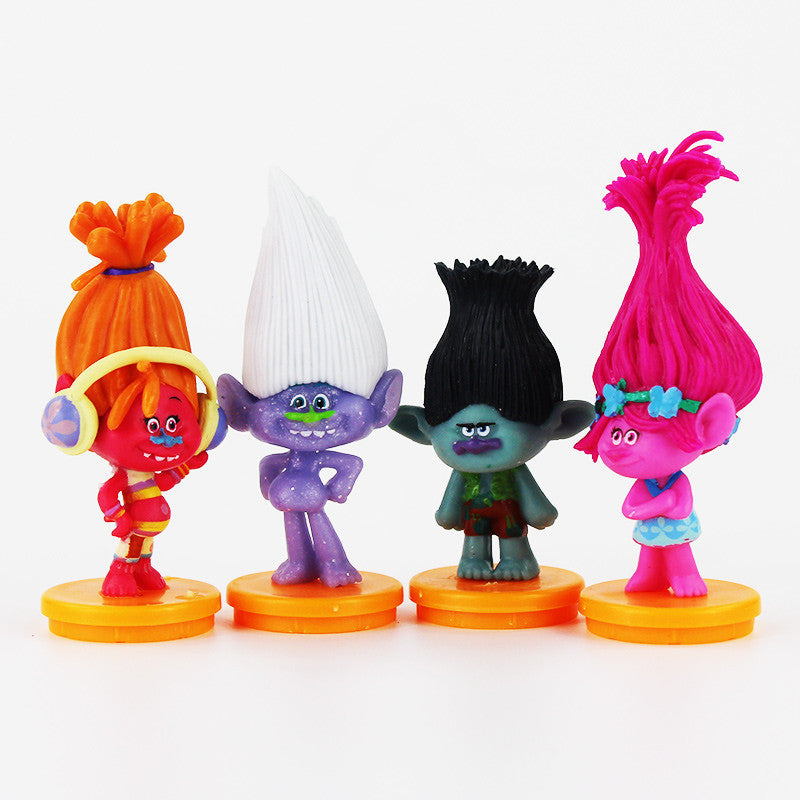 2016 New 4pcs/lot 6-8cm DREAMWORKS Movie Trolls Toys Poppy Branch DJ Suki Action Figures Toys Christmas Gifts - Deals Blast