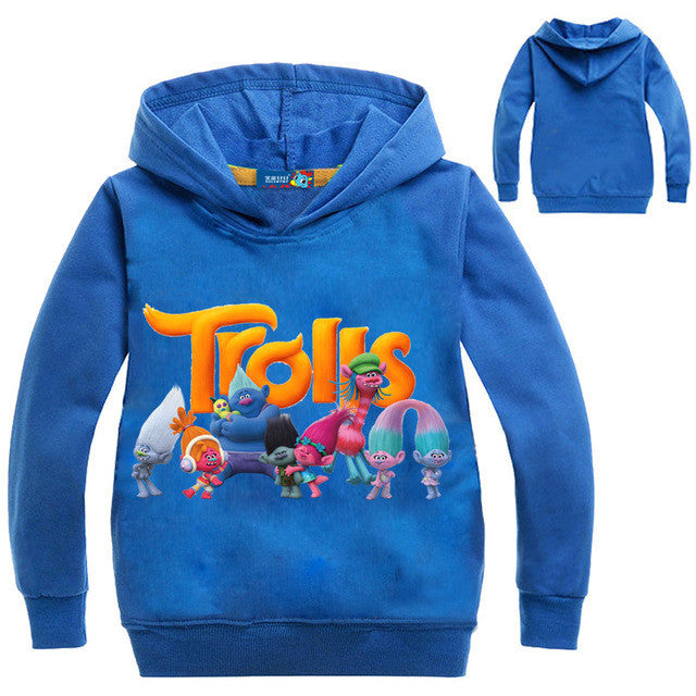 2017 Boys Outwear Trolls clothes Hoodies Cartoon Troll Costumes Clothes T shirts Children's Sweatshirts For Boys Kids Tops - Deals Blast