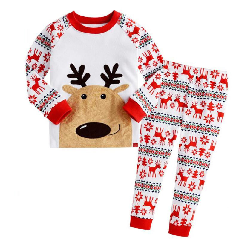 1Set Infant Baby Boys Girls Christmas Deer T-shirt Tops+Pants Outfits Clothes Cotton kids clothes girls boys baby 3#1 - Deals Blast