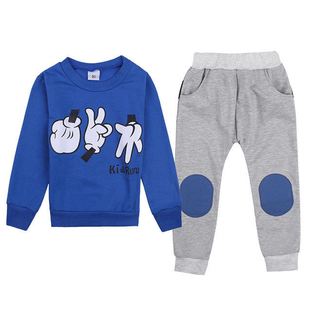2-7Y Autumn Winter Kids Clothes Set Baby Boys Girls 2 Pcs Top + Pants Finger Games Tracksuits Children Outfit Clothing Sets - Deals Blast