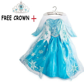 2017 Hot Sale Princess Girls Elsa Dress+Free Crown Girl Cosplay Party Costume Snow Queen Kids Clothes Anna Dresses For Children