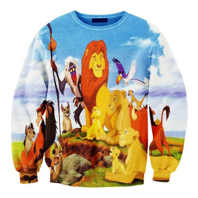 2015new Women's Fashion In Europe And America Digital Printing Thin Loose Lion King Sweatshirts - Deals Blast