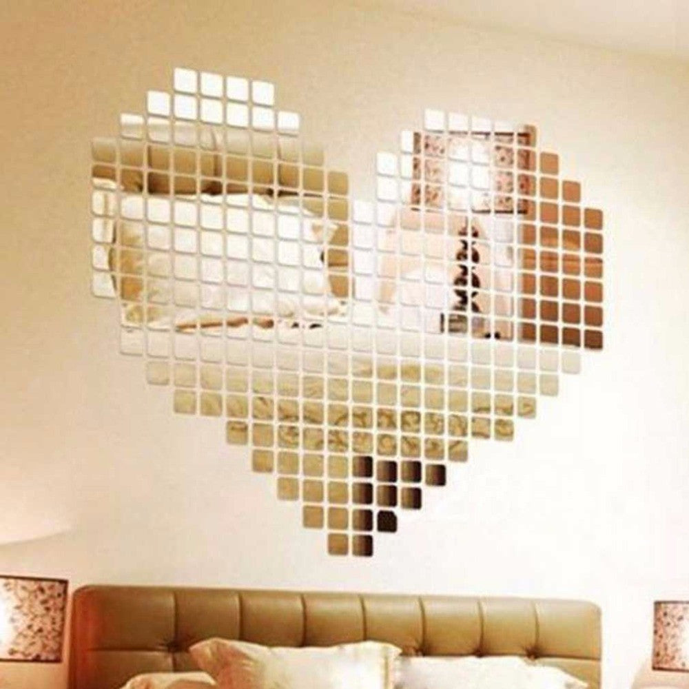 100 Piece Self-adhesive Tile 3D Mirror Wall Stickers Decal Mosaic Room Decorations Modern Self-adhesive Mirror Tiles Stickers - Deals Blast