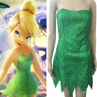 2016 high quality Children Girl's Deluxe Green Tinkerbell Fairy Costume Tinker Bell Princess Fancy Dress Halloween Cosplay dress - Deals Blast