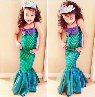 the little mermaid tail princess ariel dress cosplay costume kids for girl fancy green dress Halloween Christmas cosplay costume: Deals Blast