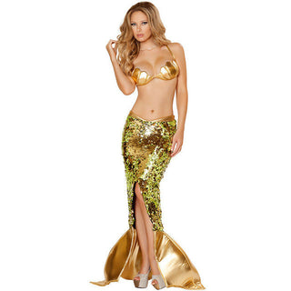 2017 Latest Hot Sequins Bra Little Mermaid Cosplay Halloween Masquerade Mermaid Costume Sexy Wild Costumes Party Clothes - Deals Blast