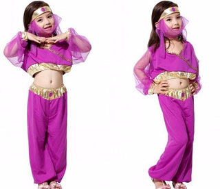 Child Girl Princess Jasmine Aladdin Kids Fancy Purple Dress Halloween Costume - Deals Blast